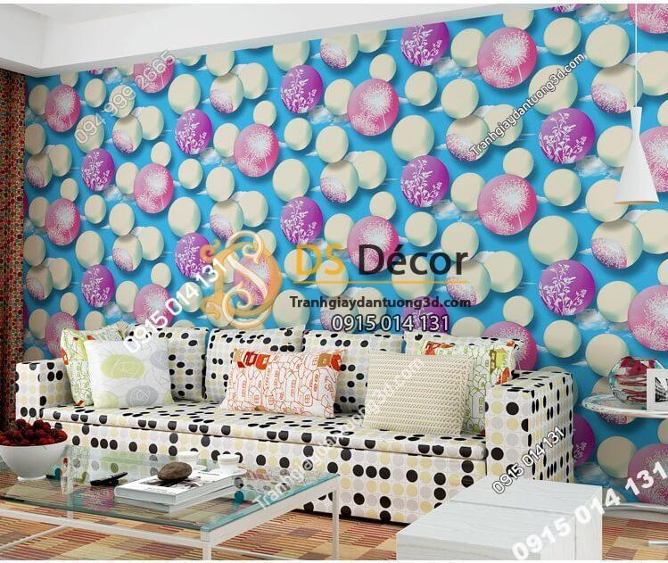 Giấy dán tường họa tiết bóng bay 3D278 màu xanh phòng khách