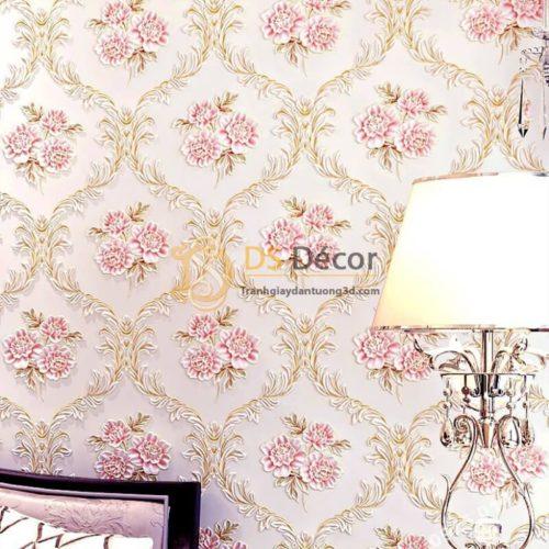 Giấy dán tường hoa leo hồng cổ điển 3D275 phòng ngủ
