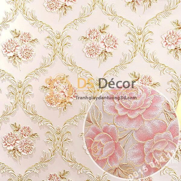 Giấy dán tường hoa leo hồng cổ điển 3D275