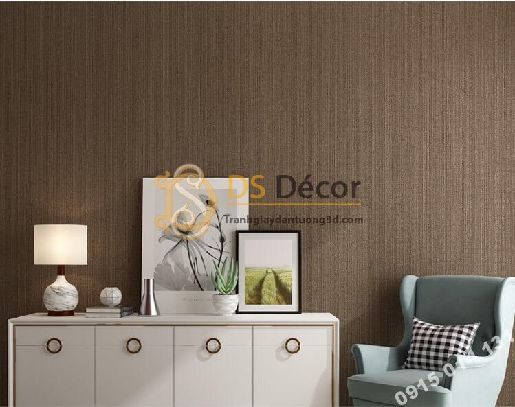 Giấy dán tường một màu giả vải 3D281 màu nâu cafe