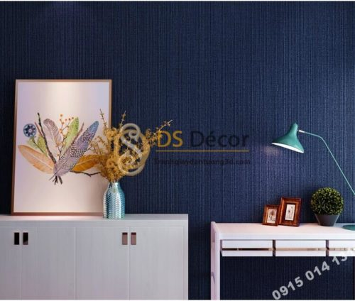Giấy dán tường một màu giả vải 3D281 màu xanh dương đậm