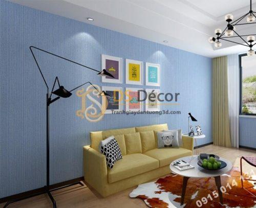 Giấy dán tường một màu giả vải 3D281 màu xanh dương nhạt