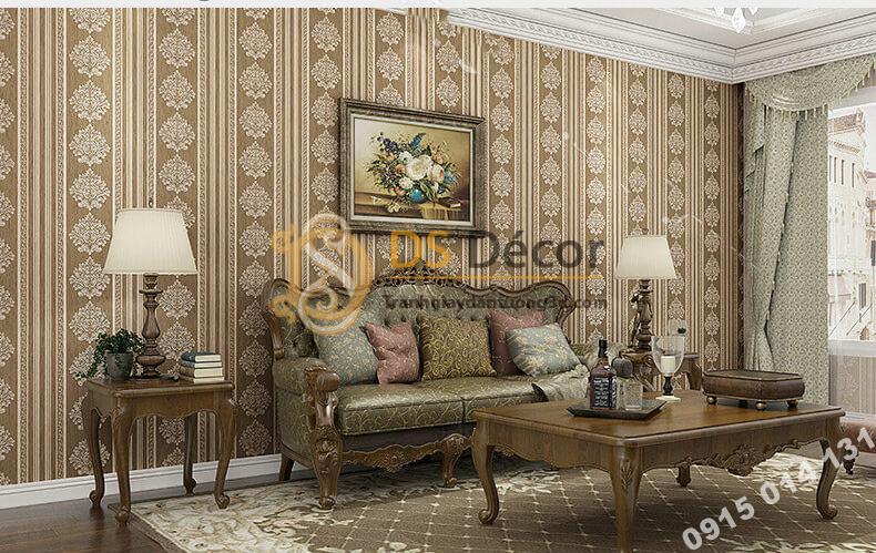 Giấy dán tường sọc dọc cổ điển sang trọng 3D276 màu nâu trang trí phòng khách