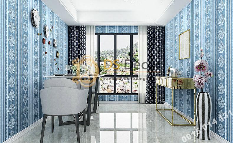 Giấy dán tường sọc dọc cổ điển sang trọng 3D276 màu xanh dương phòng khách sang trọng
