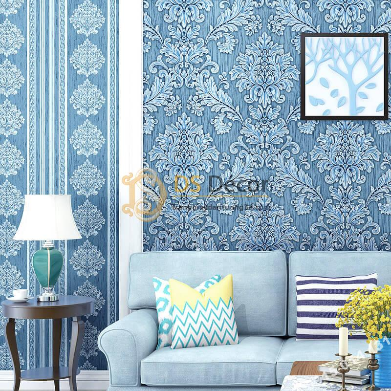 Giấy dán tường sọc dọc cổ điển sang trọng 3D276 màu xanh dương phòng khách