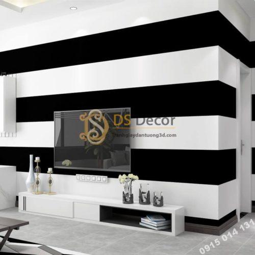 Giấy dán tường sọc trắng đen to 3D283 phòng khách