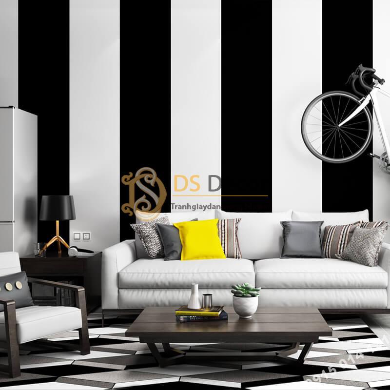 Giấy dán tường sọc trắng đen to 3D283