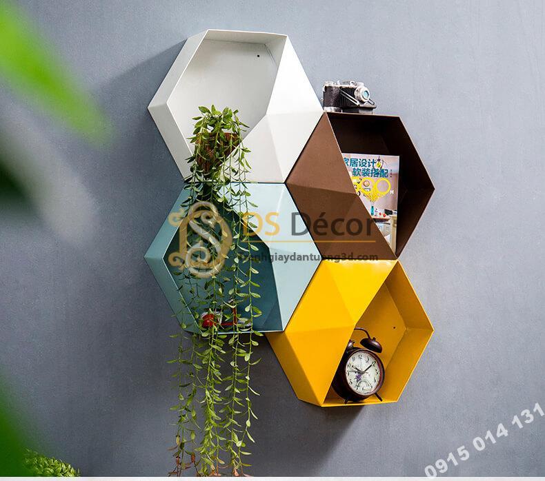 Kệ lục giác trang trí tường KLG trang trí quán cafe