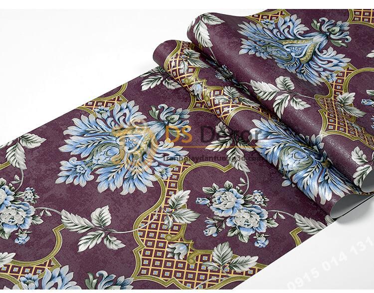 Bề mặt Giấy dán tường cổ điển hoa dập nổi 3D295 màu tím