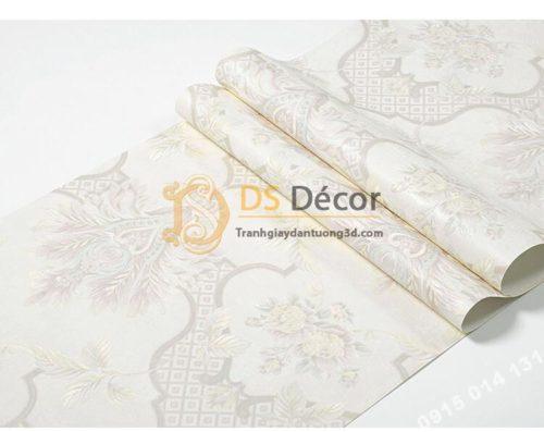 Bề mặt Giấy dán tường cổ điển hoa dập nổi 3D295 màu trắng