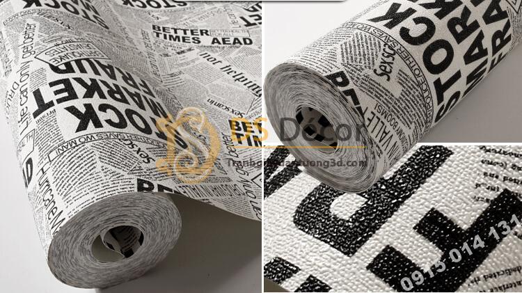 Bề mặt Giấy dán tường giả báo trắng đen cho shop thời trang 3D293