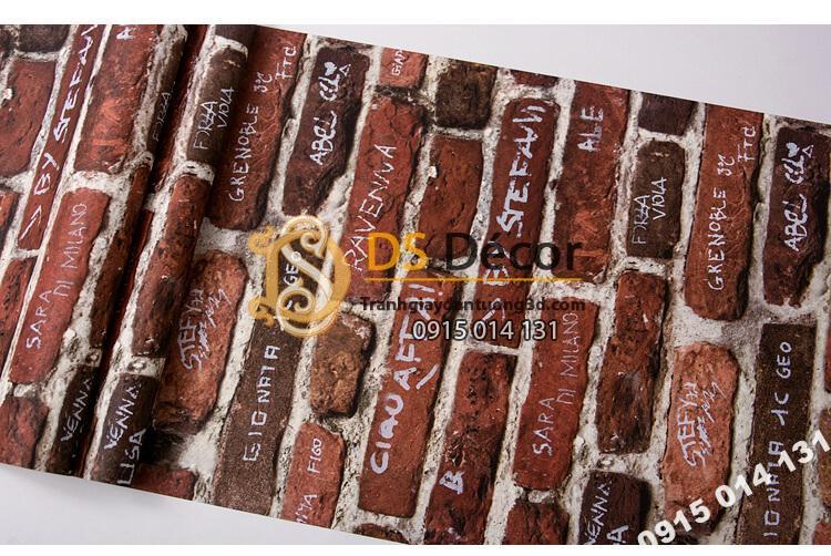 Bề mặt Giấy dán tường giả gạch có chữ 3D287