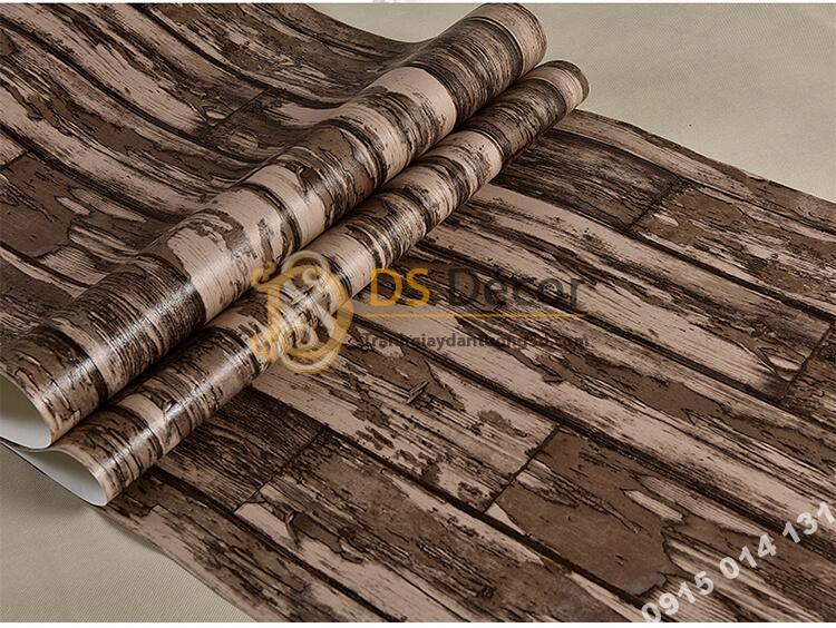 Bề mặt Giấy dán tường giả gỗ rêu phong mộc mạc 3D289 màu nâu