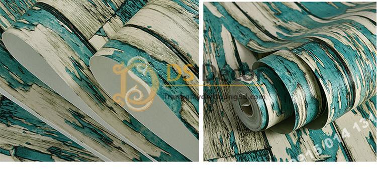 Bề mặt Giấy dán tường giả gỗ rêu phong mộc mạc 3D289 màu xanh