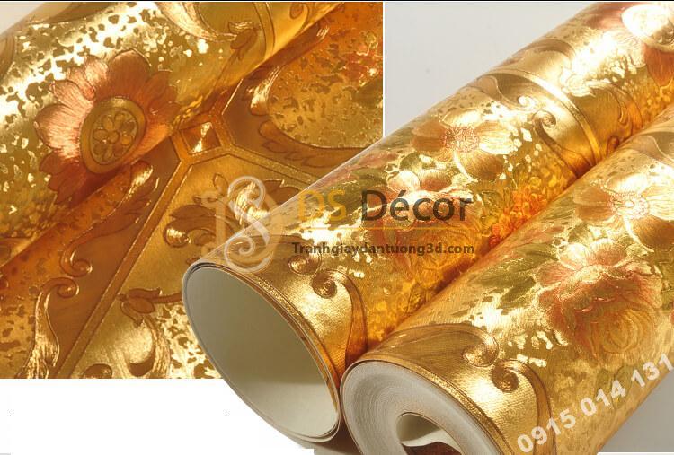 Bề mặt Giấy dán tường họa tiết gạch hoa mạ vàng sang trọng 3D294
