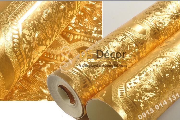 Bề mặt Giấy dán tường họa tiết gạch men mạ vàng sang trọng 3D294