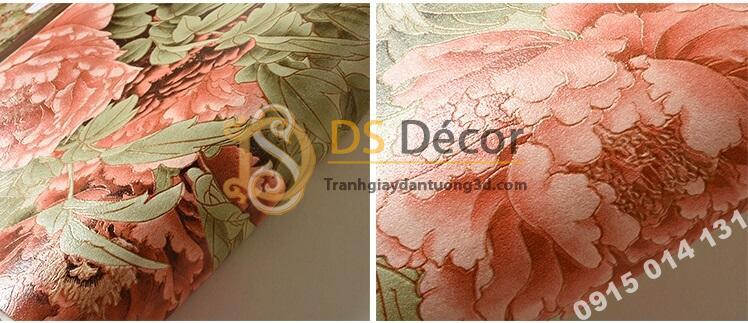 Bề mặt Giấy dán tường hoa hồng lớn 3D291 màu hồng cam