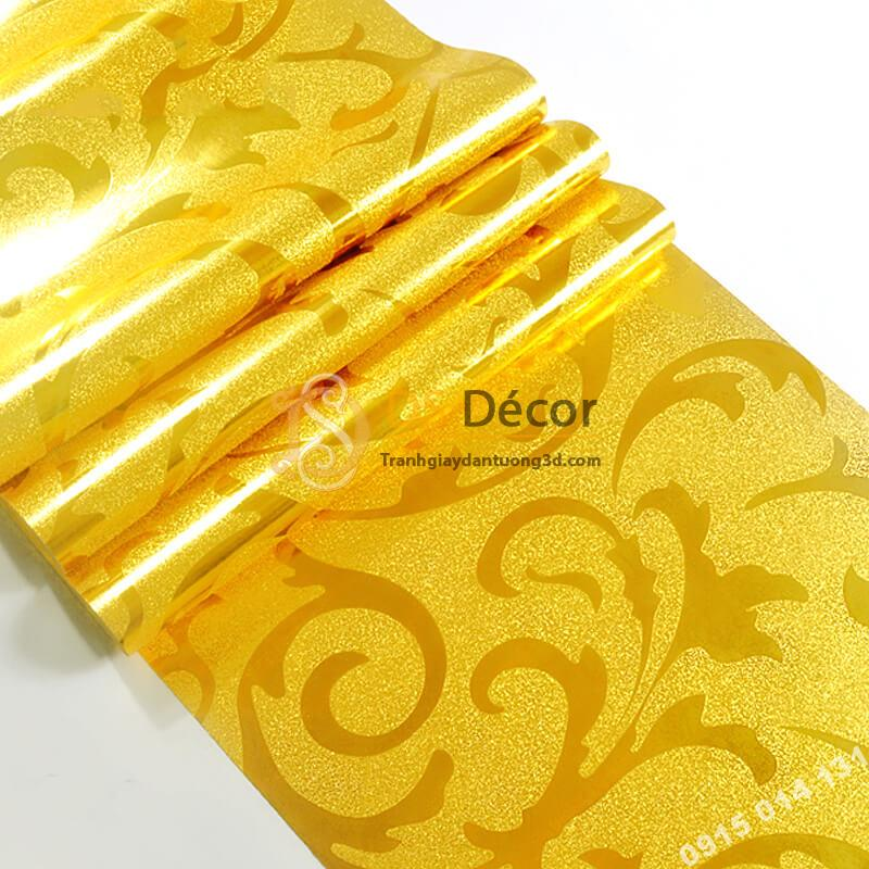 Bề mặt Giấy dán tường hoa lá cách điệu màu vàng óng 3D296