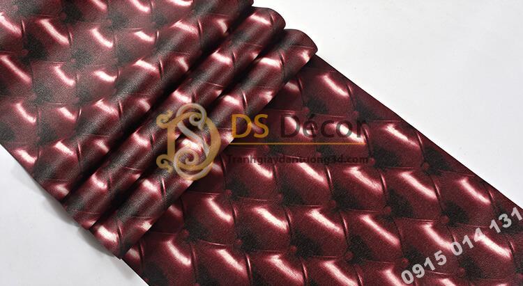 Bề mặt Giấy dán tường kiểu bọc da sofa Chesterfield 3D284 màu đỏ đậm
