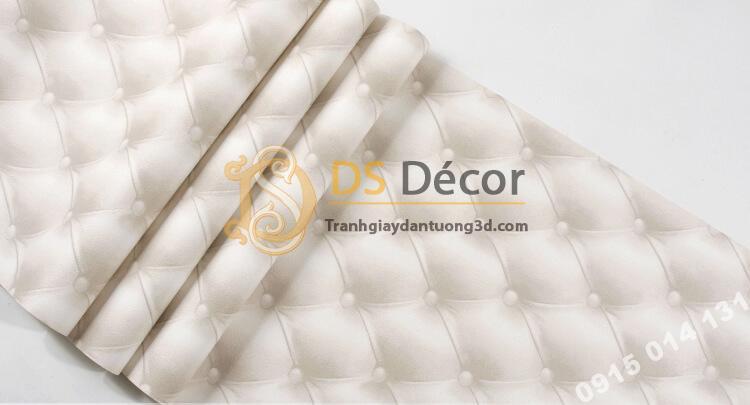 Bề mặt Giấy dán tường kiểu bọc da sofa Chesterfield 3D284 màu trắng