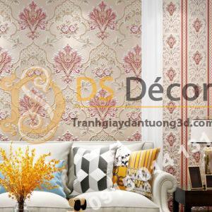 Giấy dán tường cổ điển hoa dập nổi 3D295 màu hồng