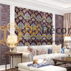 Giấy dán tường cổ điển hoa dập nổi 3D295 màu tím phòng khách