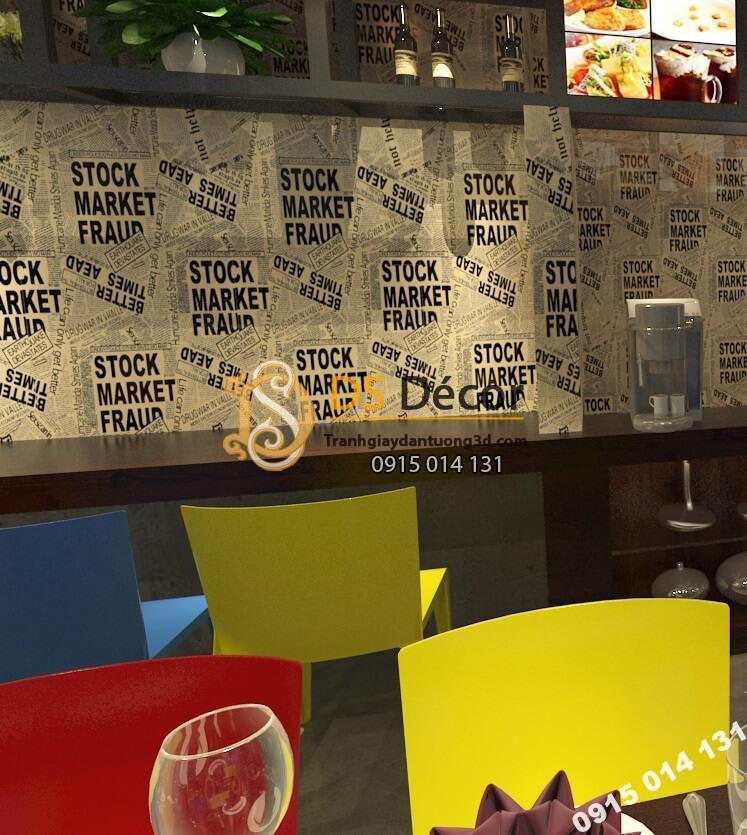 Giấy dán tường giả báo trắng đen cho quán trà sữa tông nâu 3D293