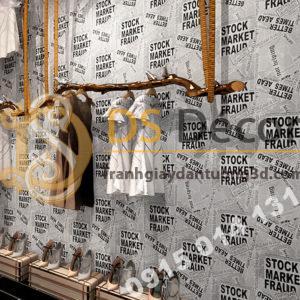 Giấy dán tường giả báo trắng đen cho shop thời trang 3D293