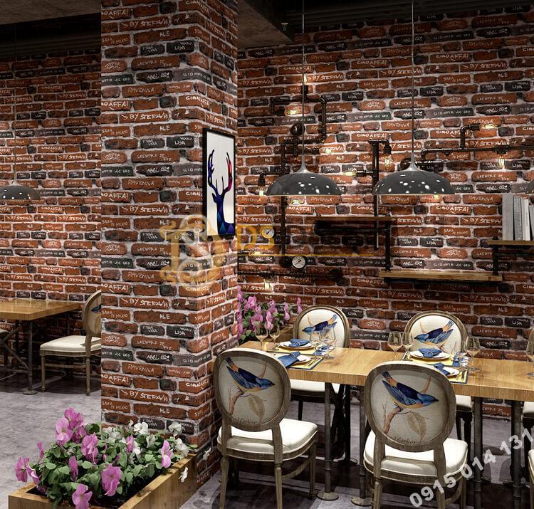 Giấy dán tường giả gạch có chữ 3D287 trang trí quán ăn