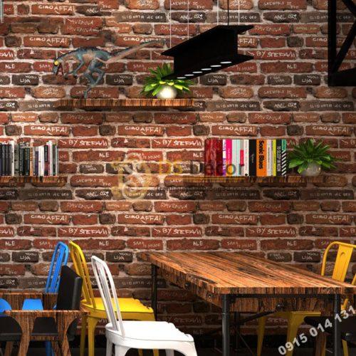 Giấy dán tường giả gạch có chữ 3D287 trang trí quán cafe