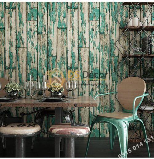 Giấy dán tường giả gỗ rêu phong mộc mạc 3D289 màu xanh