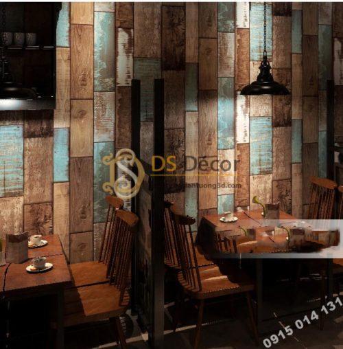 Giấy dán tường giả gỗ ván cổ vintage 3D290 dán quán cafe