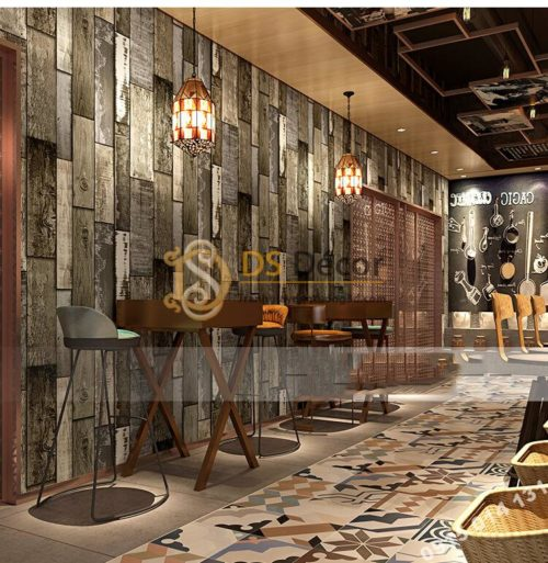 Giấy dán tường giả gỗ ván cổ vintage 3D290 màu xám