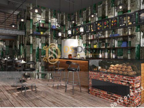 Giấy dán tường giả gỗ ván cổ vintage 3D290 màu xanh quán cafe