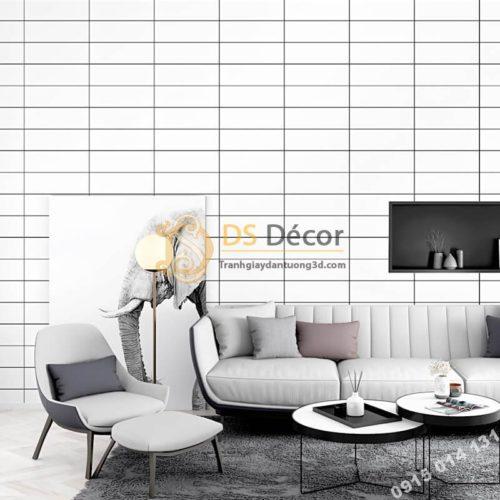 Giấy dán tường hình chữ nhật trắng đen hiện đại 3D292 phòng khách