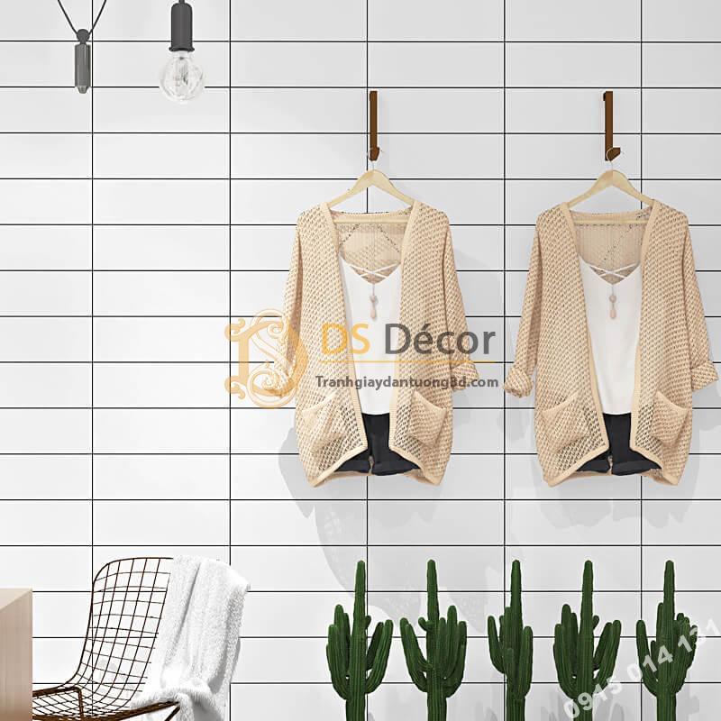 Giấy dán tường hình chữ nhật trắng đen hiện đại 3D292 shop quần áo