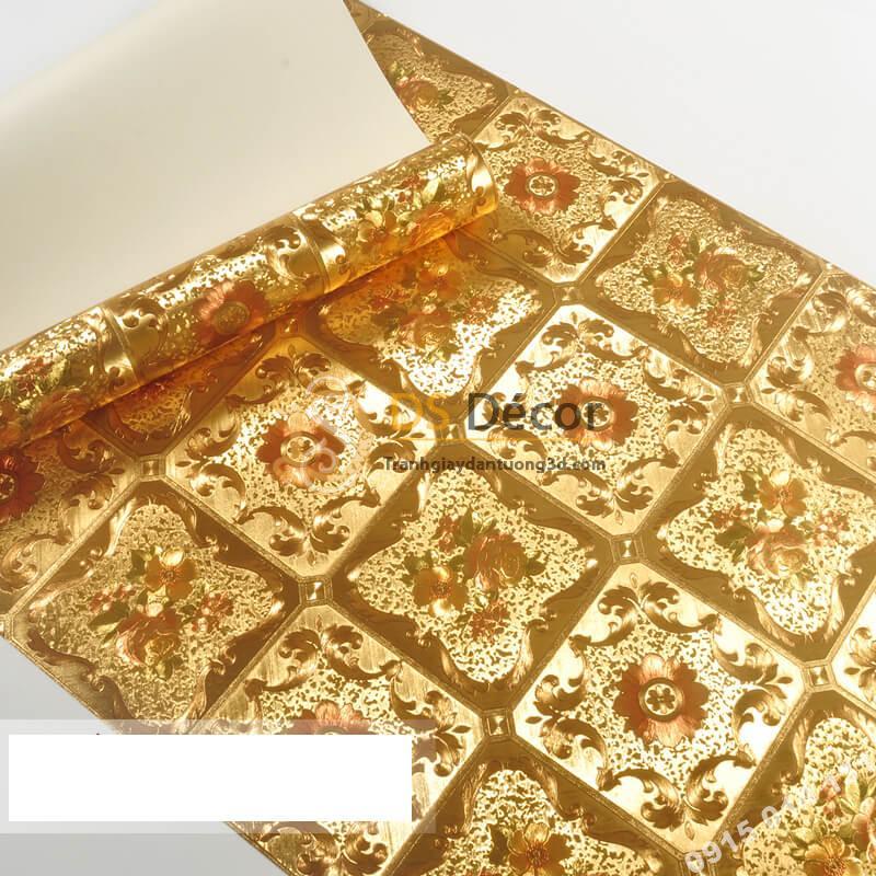 Giấy dán tường họa tiết gạch hoa mạ vàng sang trọng 3D294
