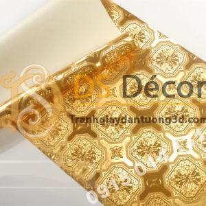 Giấy dán tường họa tiết gạch men mạ vàng sang trọng 3D294