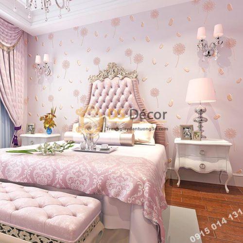 Giấy dán tường hoa bồ công anh và lông chim 3D285 màu hồng phòng ngủ