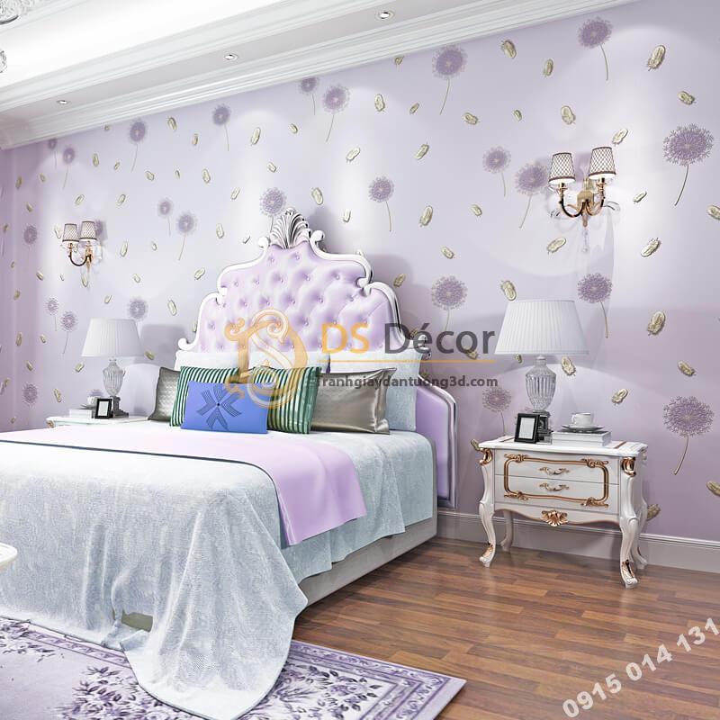 Giấy dán tường hoa bồ công anh và lông chim 3D285 màu tím phòng ngủ