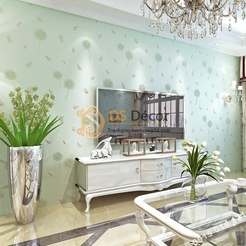 Giấy dán tường hoa bồ công anh và lông chim 3D285 màu xanh phòng khách