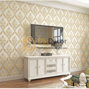Giấy dán tường hoa châu âu sang trọng 3D288 màu be phòng khách