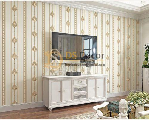 Giấy dán tường hoa châu âu sang trọng 3D288 màu be phòng khách kiểu sọc