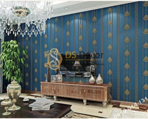 Giấy dán tường hoa châu âu sang trọng 3D288 màu xanh phòng khách kiểu sọc
