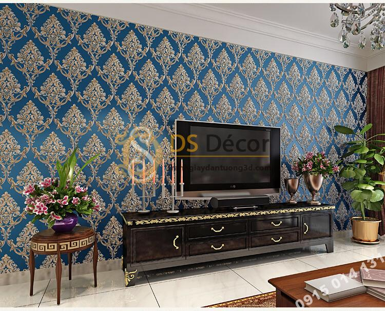 Giấy dán tường hoa châu âu sang trọng 3D288 màu xanh phòng khách