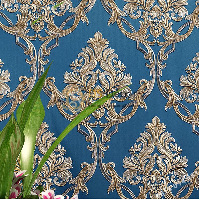 Giấy dán tường hoa châu âu sang trọng 3D288 màu xanh