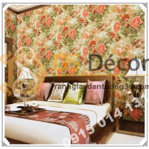 Giấy dán tường hoa hồng lớn 3D291 màu hồng cam phòng ngủ