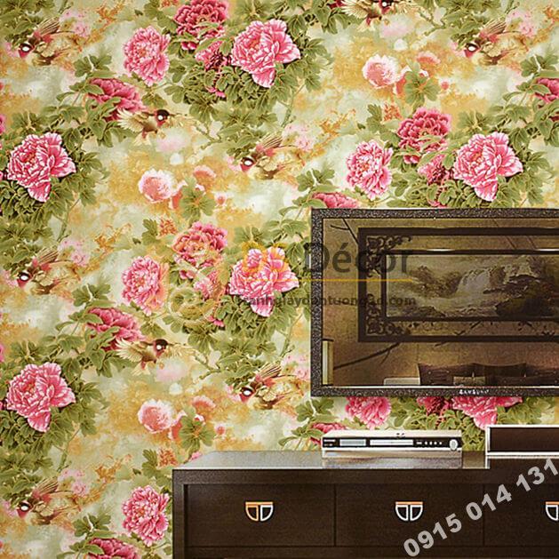 Giấy dán tường hoa hồng lớn 3D291 phòng khách