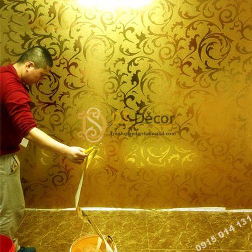 Giấy dán tường hoa lá cách điệu màu vàng óng 3D296