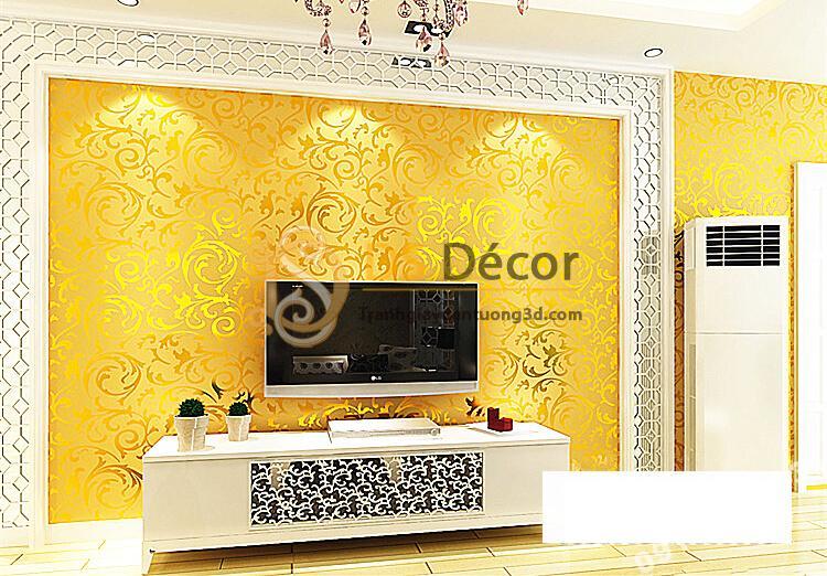 Giấy dán tường hoa lá cách điệu màu vàng óng 3D296 phòng khách